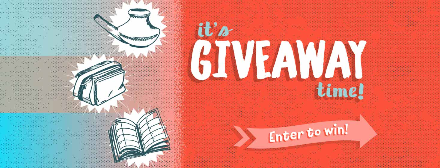 It's Giveaway Time! Enter to Win! Image of neti pot, nebulizer bag and planner