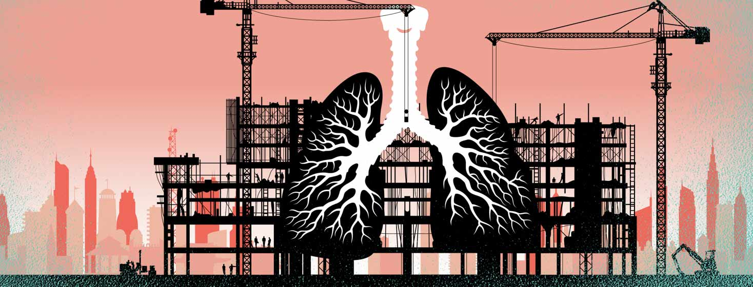 a construction site building a very large set of lungs.