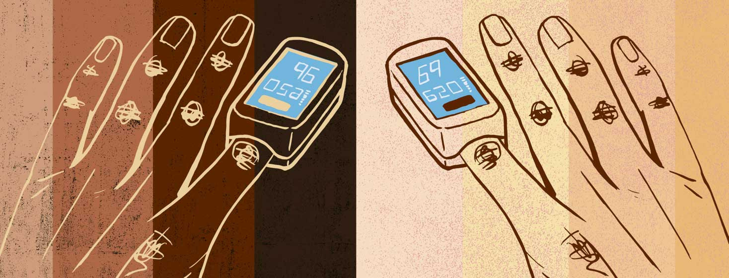 hands with fingers in an oximeter. The background shows a range of skin tones.