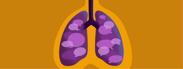 Lungs with speech bubbles inside them