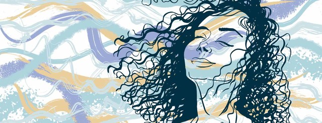 a woman with her head tilted back, breathing while her hair is tossed by the wind