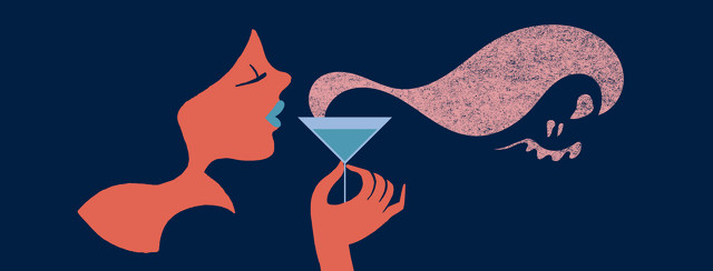 a woman about to take a sip from a cocktail that has evil smoke floating off of it