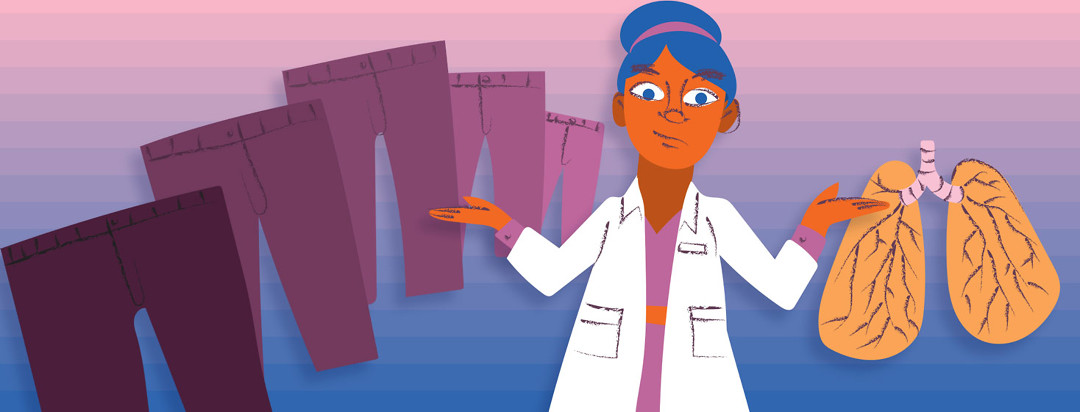 a doctor raises her hands to compare a set of lungs and a set of pants, each one getting slightly larger in size