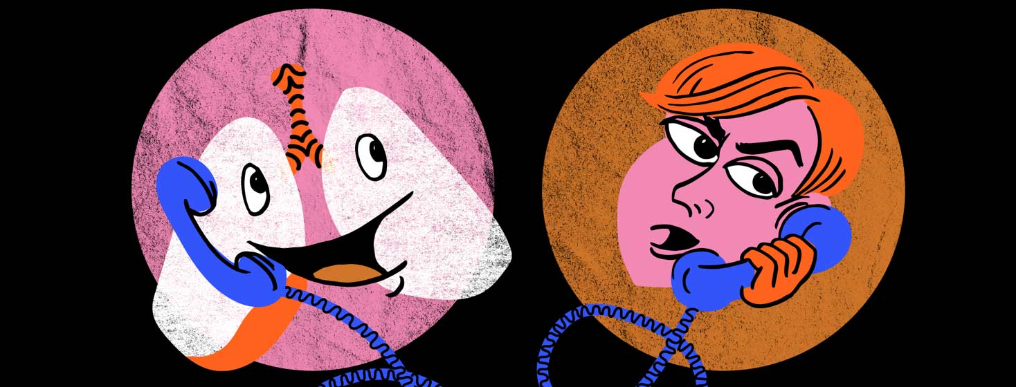 a pair of personified lungs calling a person on the phone