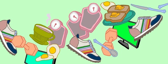 A collage of symbols for diet, exercise, weight management, healthy foods, walking, TV, computer.
