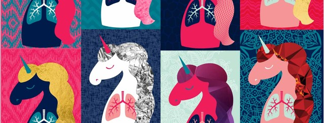 Many unicorns with lungs, each with unique colors and patterns to their hair and backgrounds