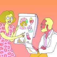 a woman uses a paper tablet as she presents to her doctor her findings on her own respiratory problems. self-advocacy, self-advocate, tracking, journal, notes, charts. adult, female, male, POC