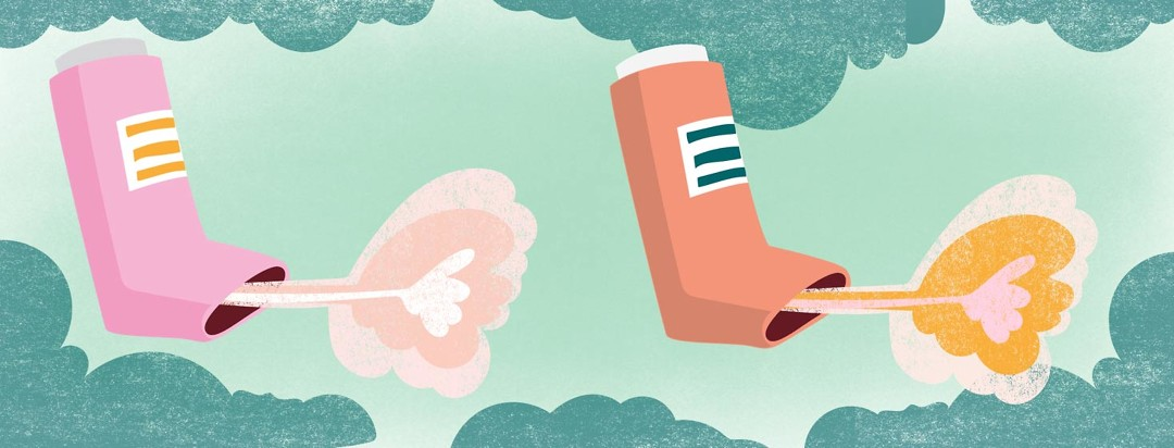 Two inhalers spraying medicine