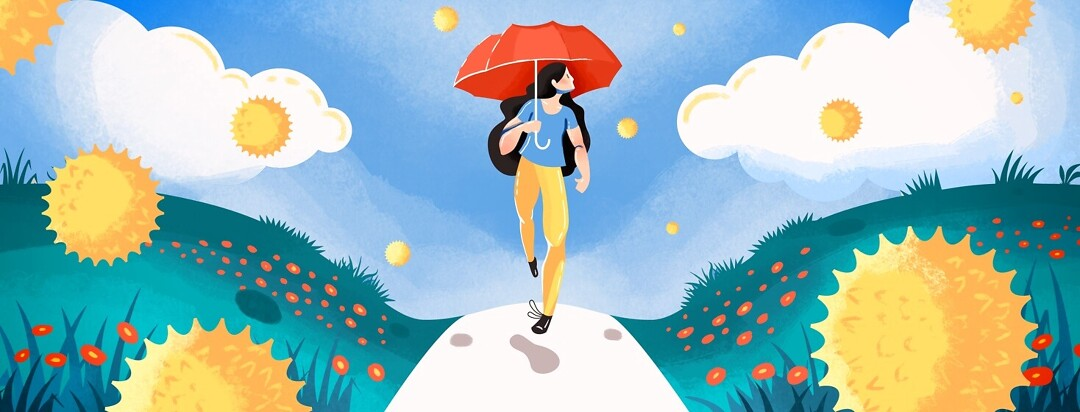 A woman with an umbrella walking outside surrounded by pollen and other spring allergens.