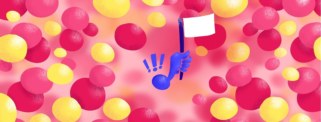 A blue cell holding up a white flag surrounded by red and yellow cells