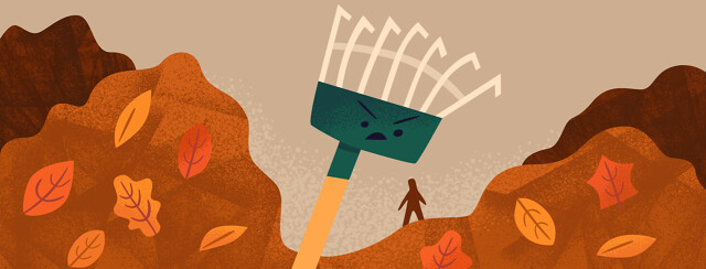 Menacing rake towering over tiny figure surrounded by mounds of fallen leaves, pain from spring chores that trigger asthma
