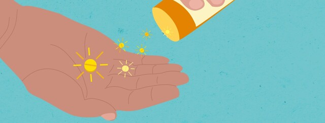 pills that look like suns being poured into a hand from a pill bottle