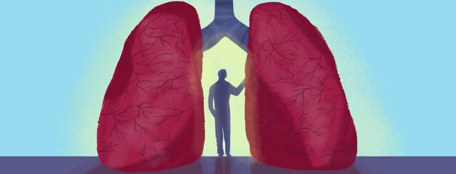 a person standing between lungs with the bronchi showing