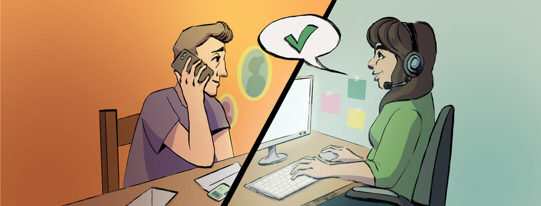 Adult male speaking on the phone with adult female at call center. Above them is a speech bubble with green check