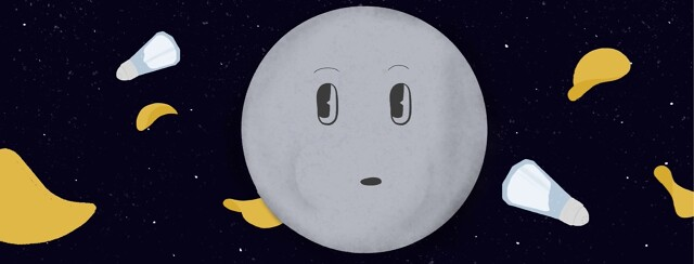 a moon with a face on it with salt and chips floating around it in space