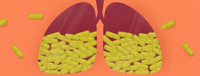 a set of lungs with pills in them