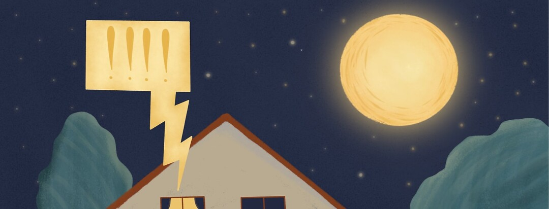a night scene with a speech bubble coming out of a window with exclamation marks in it
