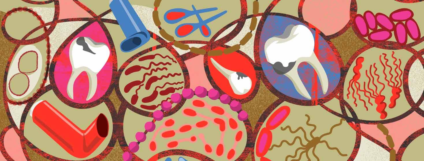 teeth, bacteria, and inhalers in a swirl
