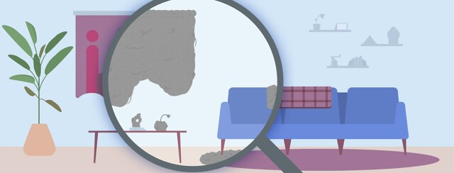 A house scene with a magnifying glass showing what objects collect dust